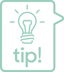 Tip icon with light bulb