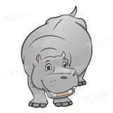 Smiling Gray Hippo