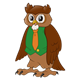 Male Owl wearing a green vest and orange tie