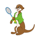 Otter with a  green jacket and a racket