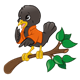 Black Bird on Branch wearing an orange jacket