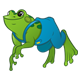 Green Frog with blue overalls