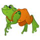 Green Frog with orange overalls