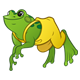 Green Frog with yellow overalls
