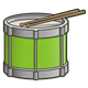 Green Drum with drumsticks