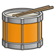 Orange Drum with drumsticks