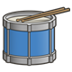Blue Drum with drumsticks