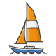 Sailboat with orange sail