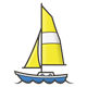 Sailboat with yellow sail