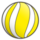 Yellow Ball with white stripes