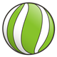 Green Ball with white stripes