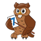 Owl Teacher with a pointer and flashcard