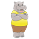 Gray Hippo with a yellow shirt and brown shorts