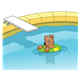 Swimming Pool with a diving board and dog