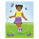 Spring Scene with a girl jumping rope in a meadow