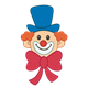 Clown Face with small eyes, blue hat and red bow tie