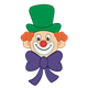 Clown Face with large eyes, green hat, and purple bow tie