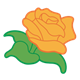 Orange Rose with green stem and leaves