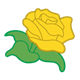 Yellow Rose with green stem and leaves