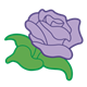 Purple Rose with green stem and leaves