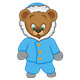 Button Bear dressed in a blue winter coat