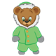Button Bear dressed in a green winter coat