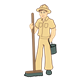 Zookeeper with a broom and pail