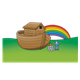 Noah's Ark with Noah and an altar