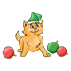 Orange Kitten with hat and ornaments