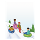 Sledding Scene with four children