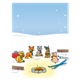 Snowy Campfire Scene with animals in winter clothes