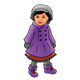 Little Girl in a purple coat and boots