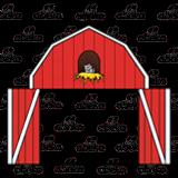 Open Barn Door abeka | clip art | red barn—with open doors and a cat