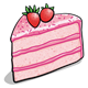 Pink Cake Slice with strawberries on top