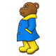 Brown Bear wearing a blue raincoat and yellow boots
