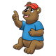 Pointing Bear wearing a blue shirt and red hat