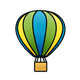 Hot Air Balloon blue, yellow, and green striped
