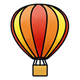 Hot Air Balloon Red, orange, and yellow striped