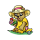 Garden Bear picking flowers