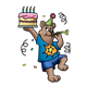 Birthday Bear with a cake