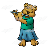 Bear Playing Flute