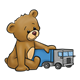 Brown Teddy Bear playing with a blue truck