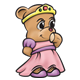 Princess Teddy Bear with a crown, slippers, and pink and purple dress