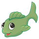 Green Fish with large eyes