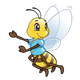 Bee with a light blue shirt