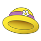 Yellow Lady's Hat with a purple ribbon and white flower