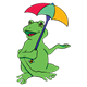 Green Frog holding an umbrella