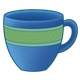 Blue Teacup with a green stripe
