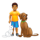 Boy with Pets a white cat and a brown dog