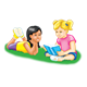 Two Girls reading a book